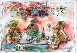 Tóth Ernő - Szüreti mulatság 70 x 100 cm olaj, merített papír