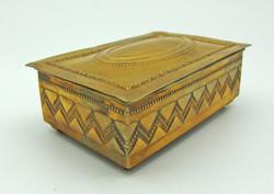 B511 Réz bonbonier szivartartó kártyatartó doboz fa berakással - hibátlan szép állapotban