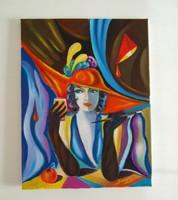 A szingli / art deco / Seres Sándor olaj festménye