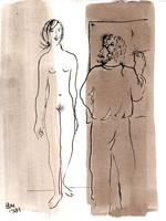 Borsos Miklós - Festő és modellje 28 x 22 cm diópác, tus, papír 1983
