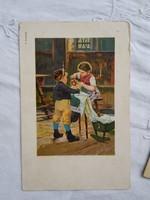 Antik litho/litográfiás NESTLÉ reklámlap/képeslap gyerekmotívumos, kislány, kisfiú, játékbaba