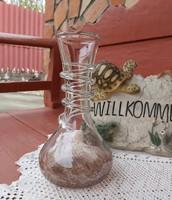 Gyönyörű formájú 25.5 cm-es barna repesztett Fátyolüveg fátyol karcagi berekfürdői üveg váza Gyűjtői