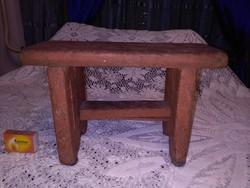 Antik népi fenyő sámli, kis szék, gyermek szék