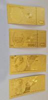 4db Millenium emlékére kiadott 2000 forintos aranyozott emlék pénz