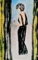 """Kata Szabo: """"woman in black"""" acrylic painting, watercolor paper 45.5 x 30.5 cm, signed"""