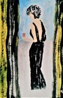 """Szabó Kata: """"Nő feketében""""  akril festmény, akvarell papír  45,5  x 30,5 cm, szignózott"""