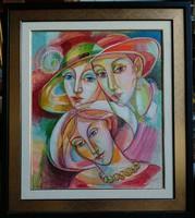 Józsa János festőművész Kalapos nők