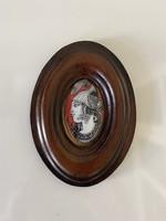 Szász Endre hollóházi porcelán medál bőr keretben
