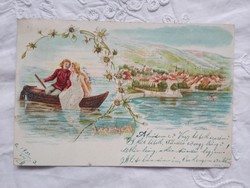 Antik/szecessziós litho/litográfiás, csillogó glitteres képeslap/üdvözlőlap, tájkép, romantika 1900