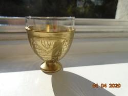 Török ottomán ZARF kávés pohár tartó kézzel vésett,kalapált, egyedi mintákkal,tűzálló üveg pohárral