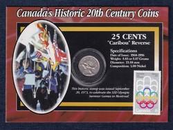 Kanada 20. századi történelme jávorszarvas 25 cent 1977 + Montréal olimpia bélyeg sz (id48154)