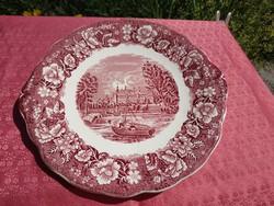 Antik angol jelenetes porcelán, kínáló tál