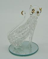 B575 Kristály üveg aranyozott cica macska - hibátlan szép állapotban