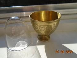 Török ottomán ZARF kávés pohár tartó kézzel véset,kalapált, egyedi  mintákkal,tűzálló üveg pohárral