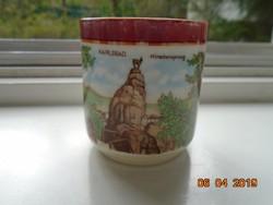 Birodalmi Karlsbadi gyöngyház mázas souvenir csésze