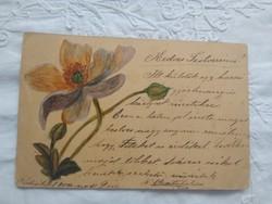 Antik/szecessziós hosszúcímzéses kézzel rajzolt virágos képeslap, hátán koronás magyar címer 1900