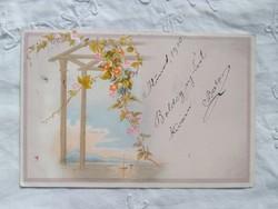 Antik rózsaszín-kék litho/litográfiás, képeslap/üdvözlőlap tájkép, hajó, virágok, 1900-ból