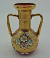 B571 Bohemia aranyozott virágmintás váza - hibátlan szép állapotban