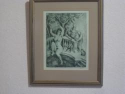 Szabó Vladimir   Zsuzsanna... c rézkarca    kerettel  35 x 43 cm