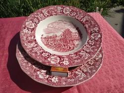 Angol jelenetes porcelán mély tányér, 2 db.