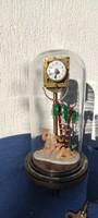 Art Deco üveg búràs óra,Murànói üveg díszítés! Tévék,pàlmafa,jelenet!
