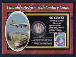 Kanada 20. századi történelme címer 50 cent 1996 + Air Canada bélyeg szett (id48146)
