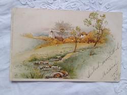 Antik, német, aranyozott litho/litográfiás, üdvözlőlap/képeslap tájkép, templom, nap 1899-ből
