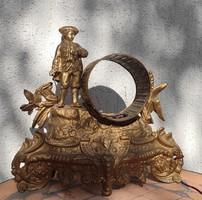 Jelzett asztali óra tok doboz fémből szoborral, Francia lehet