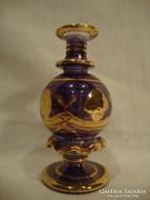 Antik aranyozott kék parfümös üvegcse