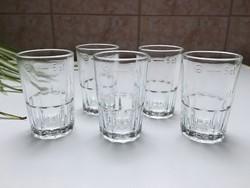 Retro üveg pohár 5cl magyar hitelesített Szent Koronás 5db