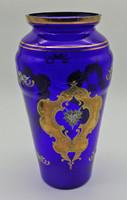 B572 Bohemia kobalkék aranyozott óriás váza - hibátlan szép állapotban
