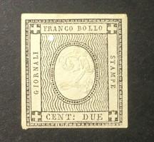 1861-es kiadású értékes szardiniai 2 centes bélyeg - postatiszta, dombornyomott ritkaság