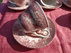 Antik angol jelenetes porcelán csésze aljjal, 5 pár