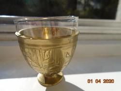 Török ottomán ZARF kávés pohár tartó kézzel vésett,kalapált,egyedi mintákkal,tűzálló üveg pohárral