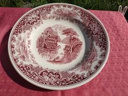 Gyönyörű antik angol jelenetes porcelán mély tányér