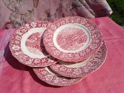 Antik angol jelenetes porcelán süteményes tányér