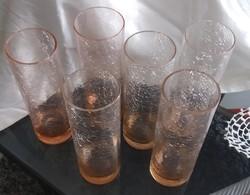 Karcagi fátyolüveg csőpohár 6db