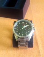 Festina Chronograph - ezüst fémszíjas 47 mm 10 ATM vízálló (eredeti papírral) minőségi svájci óra