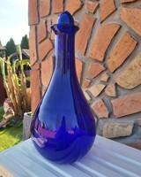 Gyönyörű  Midcentury kék színű karcagi berekfürdői üveg váza  Gyűjtői szépség