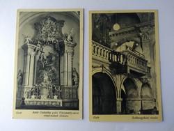 Győr 2 templom belső képeslap 1960-70 körül