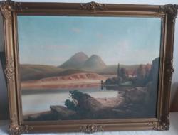 Tóparti látkép (olajfestmény szép kerettel, 60x80) háttérben várral, feltehetőleg osztrák táj