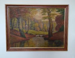 Erdei tájkép, új kerettel, 89 x 67 cm (szerző ismeretlen)