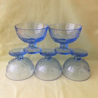 Kék üveg kehely, pohár (5 db)