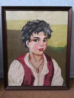 Hibátlan retro vintage keretezett 45 cm-es régi gobelin kép, portré