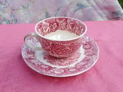 Antik angol jelenetes porcelán csésze aljjal