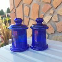 Gyönyörű  Midcentury kék színű karcagi berekfürdői üveg patikai  Gyűjtői szépség