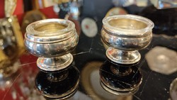 Ezüst sószóró fűszeres, bors szóró fűszertartó üveg betéttel. 2 db- os szett.