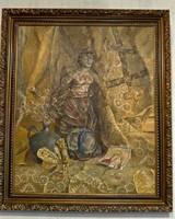"""Orosz festmény: """"A Szovjetunió bukása"""", festő """"Csecsenyec, 1988"""". Olaj vásznon, 83 x 71 cm"""
