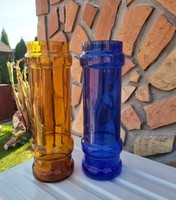 Gyönyörű  Midcentury kék narancssárga színű  karcagi berekfürdői üveg váza  Gyűjtői szépség