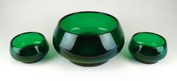 1B943 Méregzöld art deco művészi üveg készlet